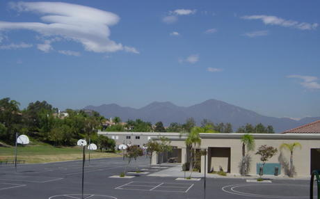 School with Saddleback Mountain background